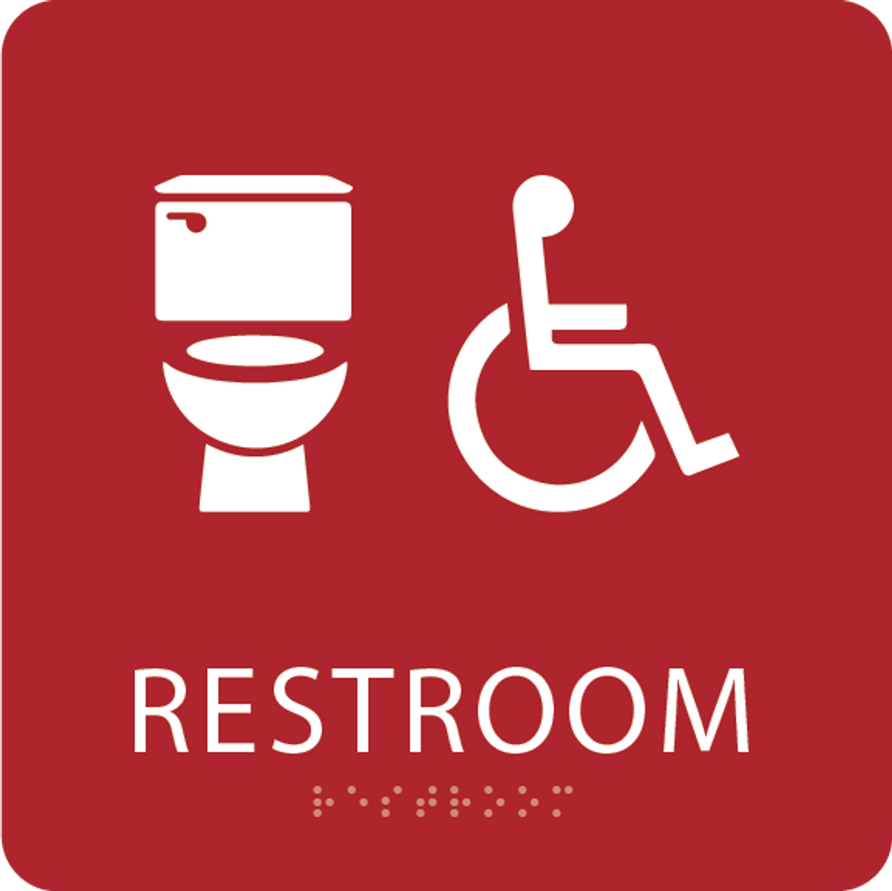 Red Accessible Toilet Sign