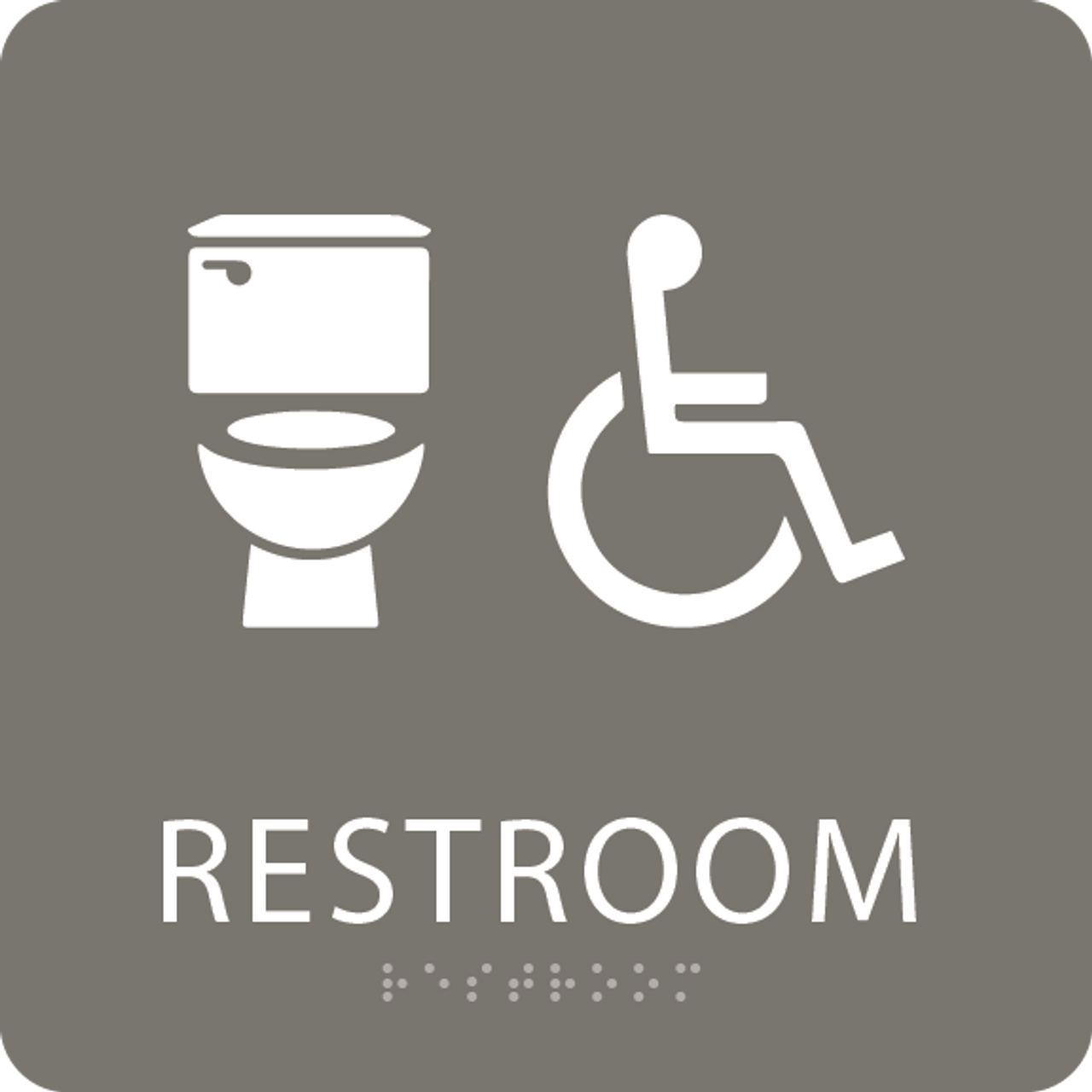 Dark Grey Accessible Toilet Sign