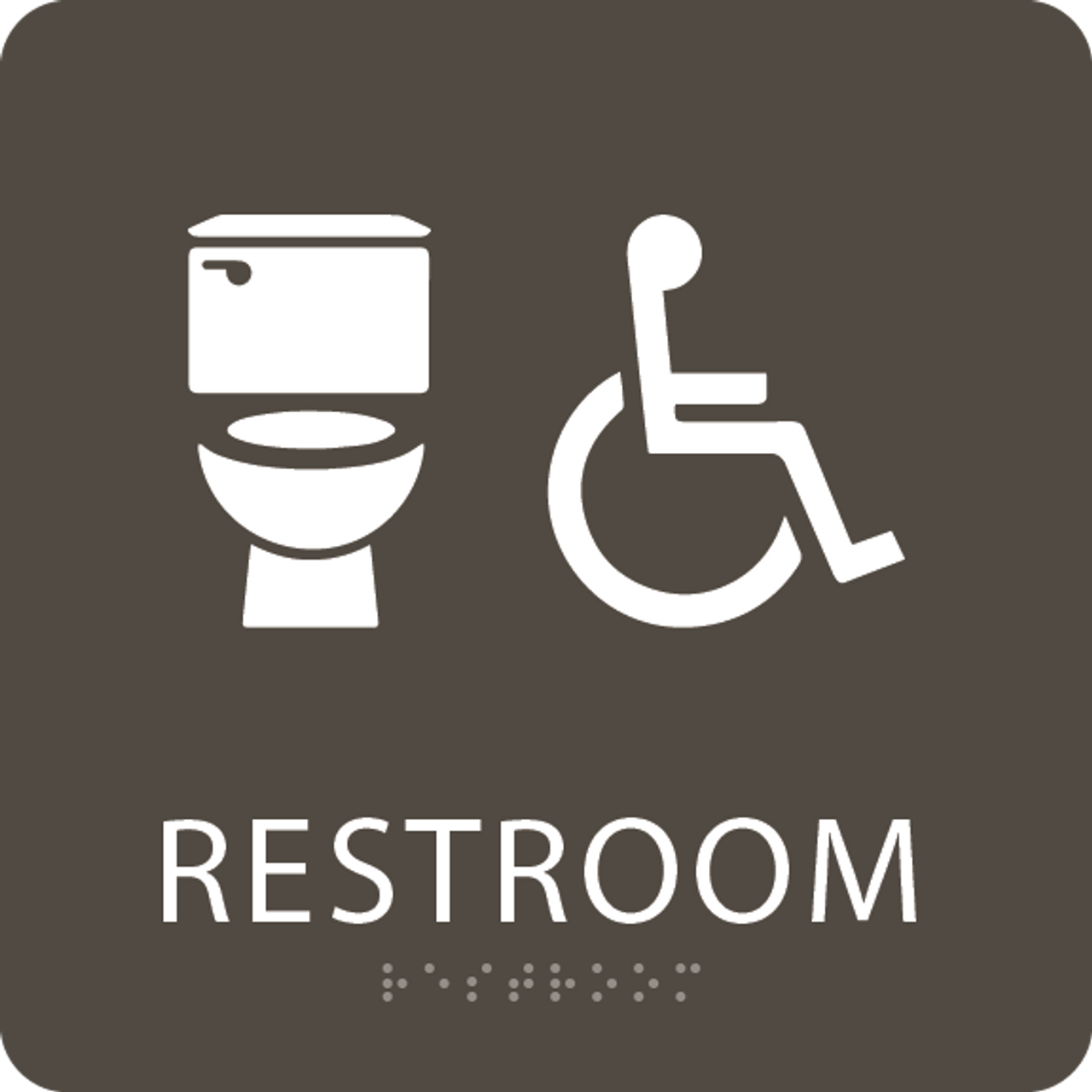 Olive Accessible Toilet Sign
