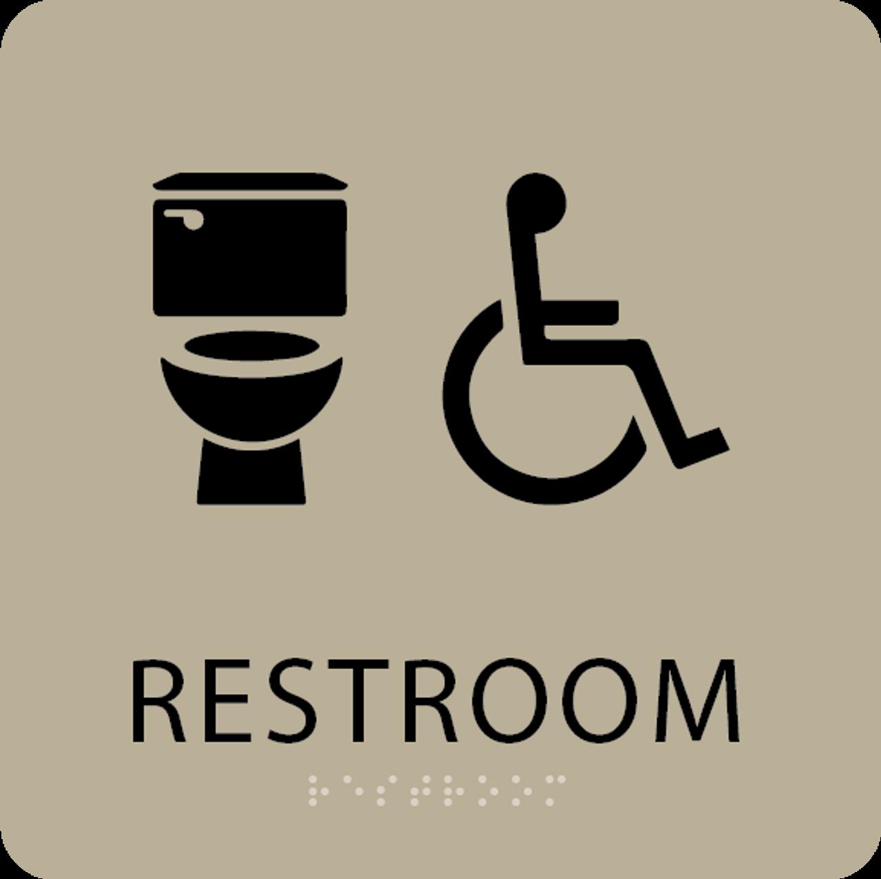 Khaki Accessible Toilet Sign
