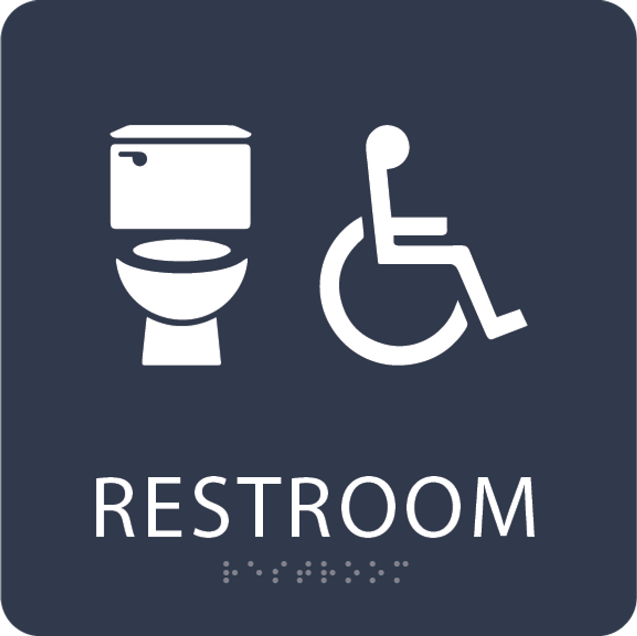 Navy Accessible Toilet Sign