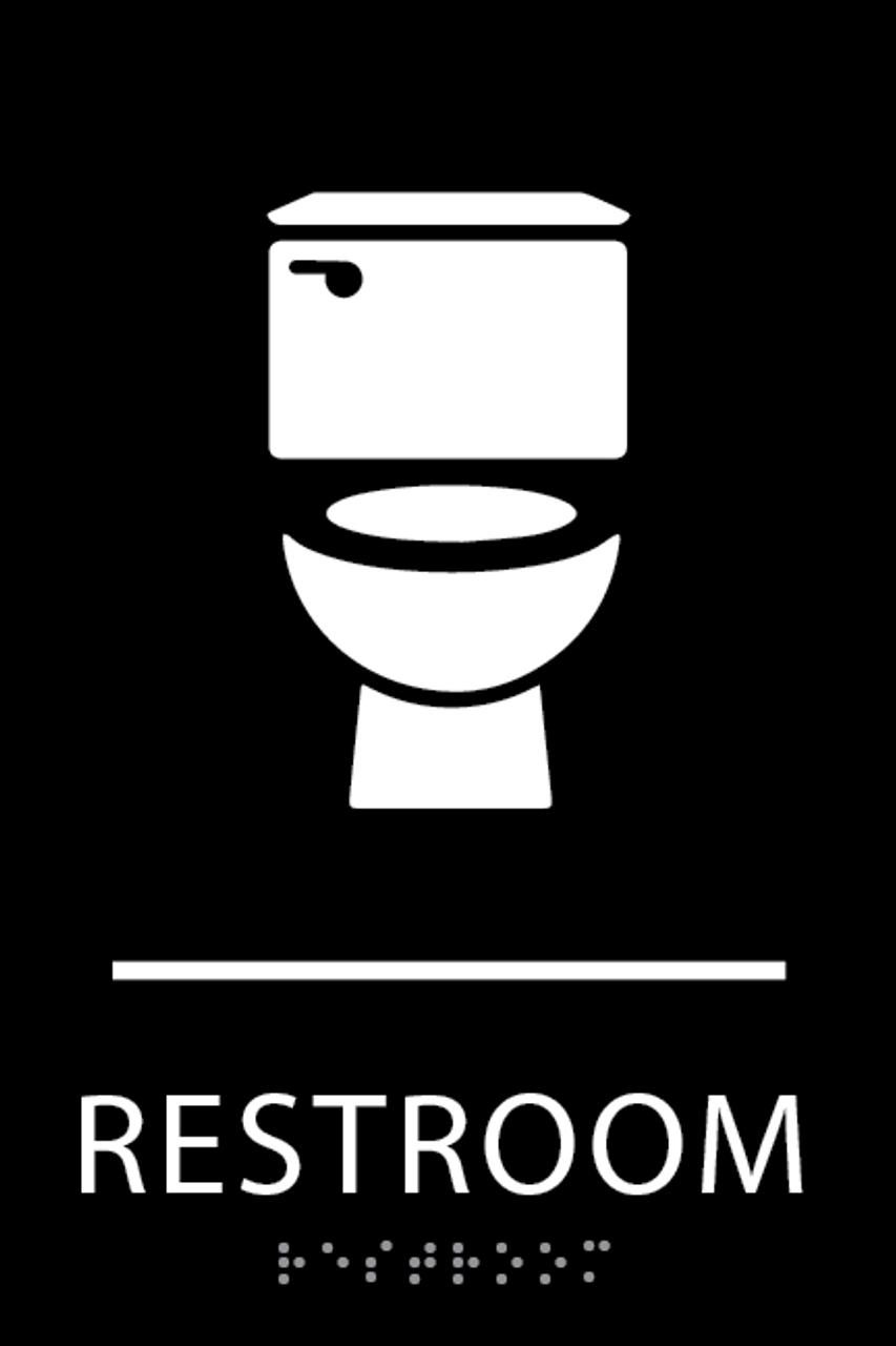 Black Toilet Restroom Sign