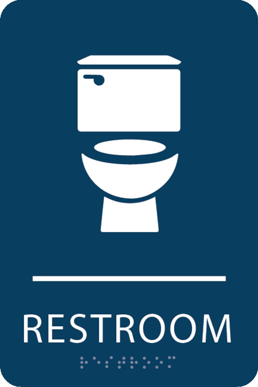 Dark Blue Toilet Restroom Sign
