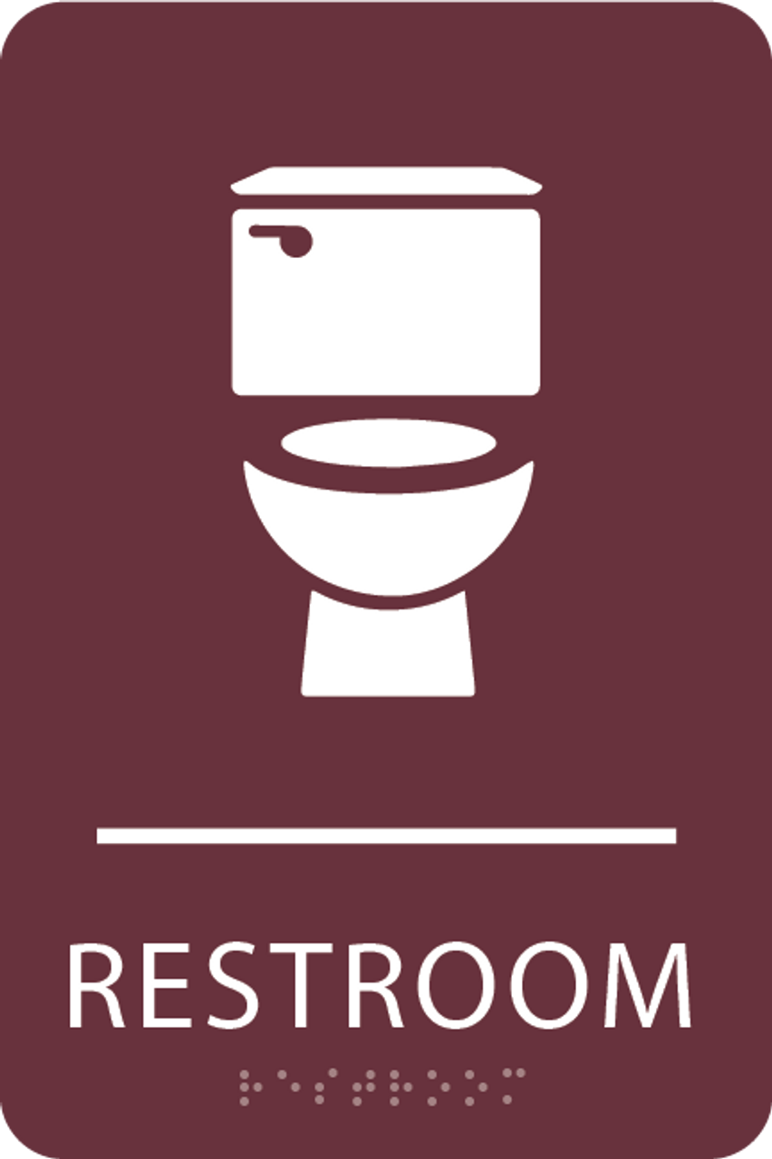 Burgundy Toilet Restroom Sign