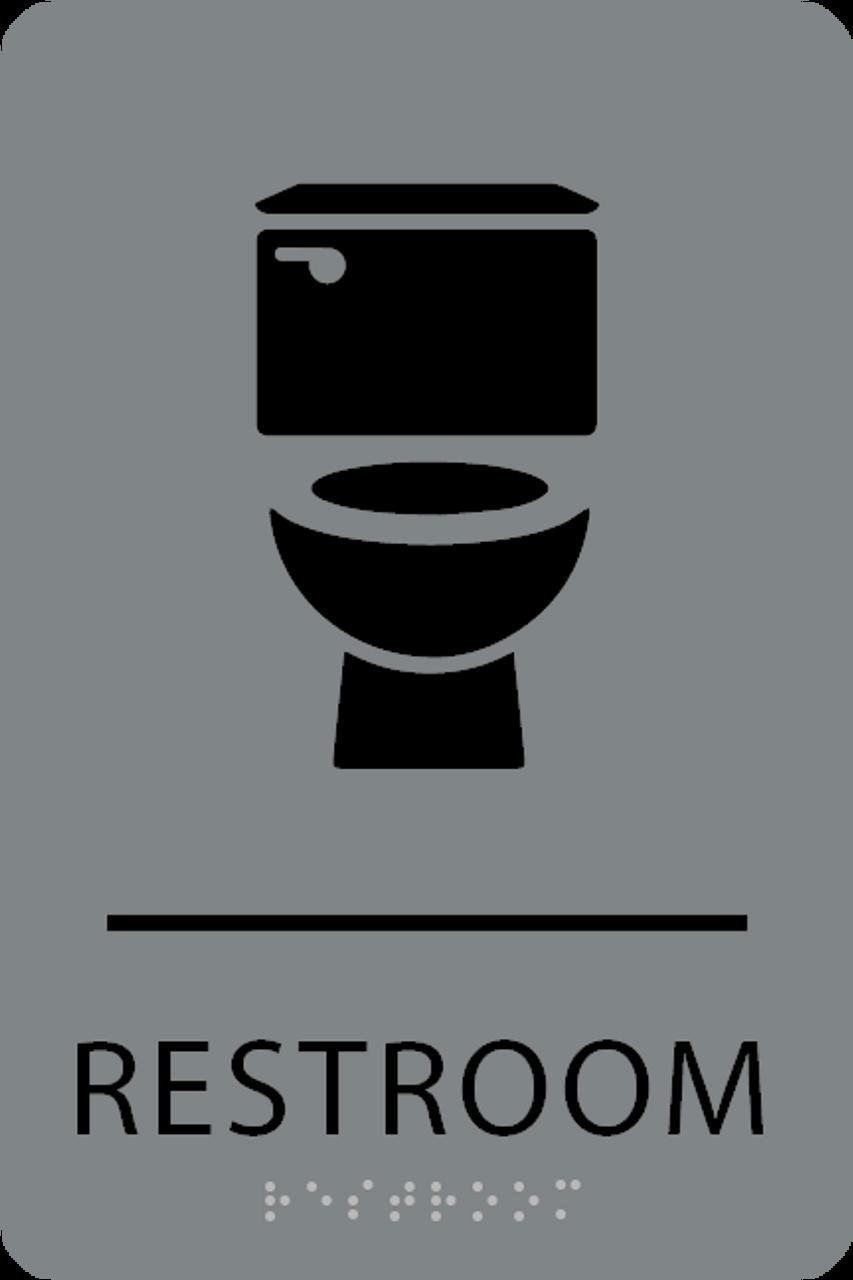 Grey Black Toilet Restroom Sign