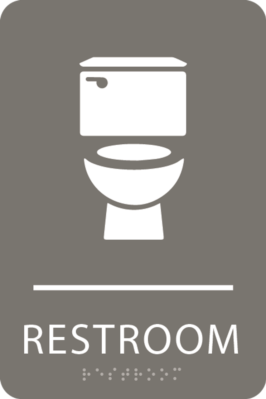 Dark Grey Toilet Restroom Sign