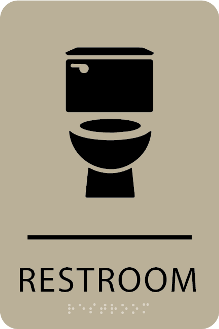 Khaki Toilet Restroom Sign