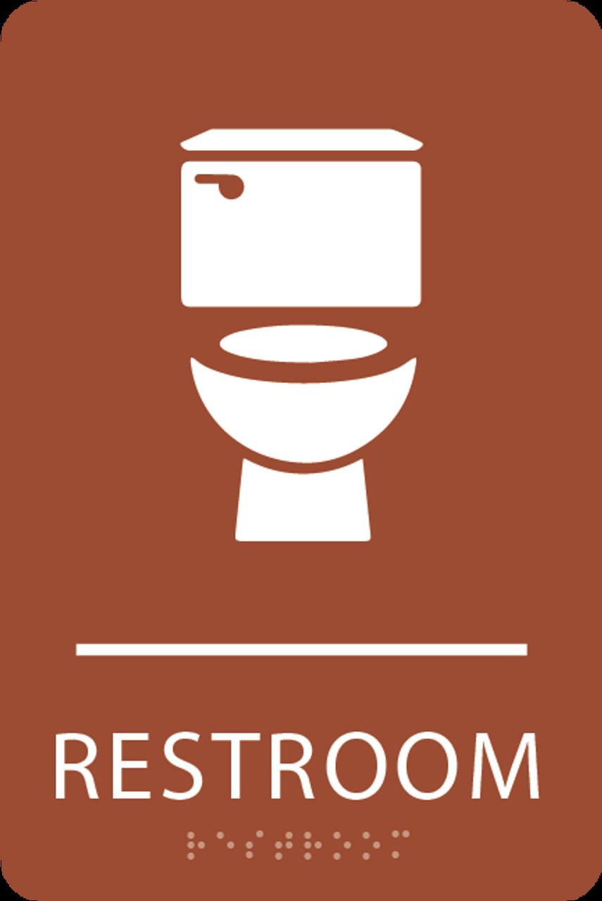 Orange Toilet Restroom Sign