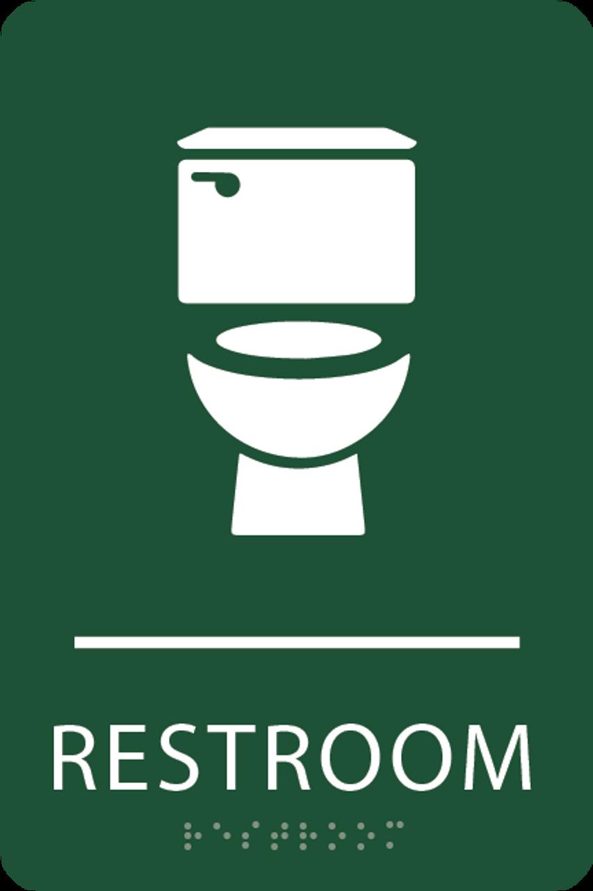 Forest Green Toilet Restroom Sign
