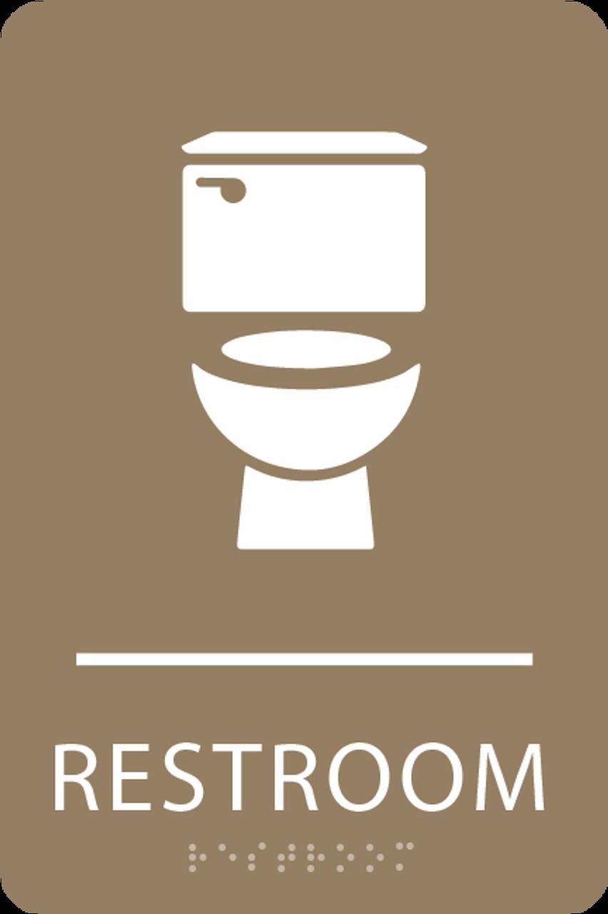 Light Brown Toilet Restroom Sign