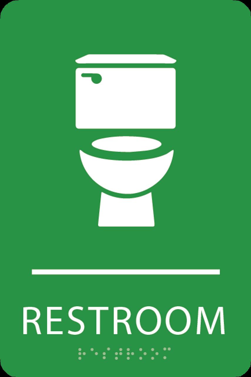 Light Green Toilet Restroom Sign