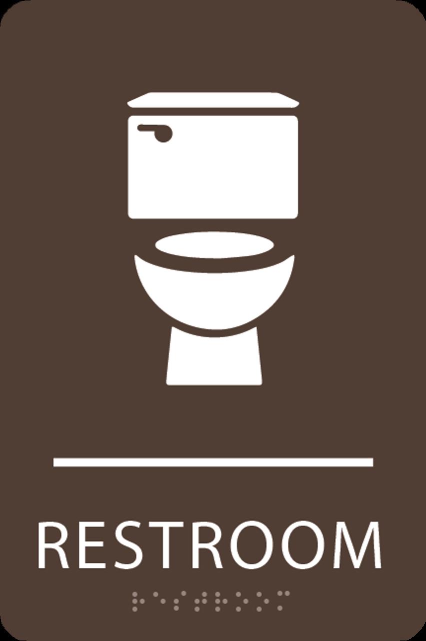 Dark Brown Toilet Restroom Sign
