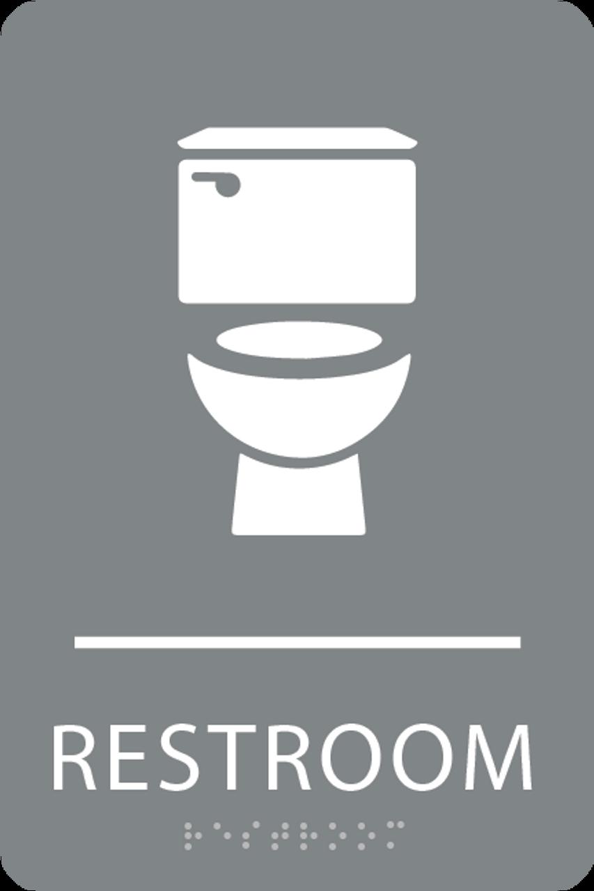 Grey Toilet Restroom Sign