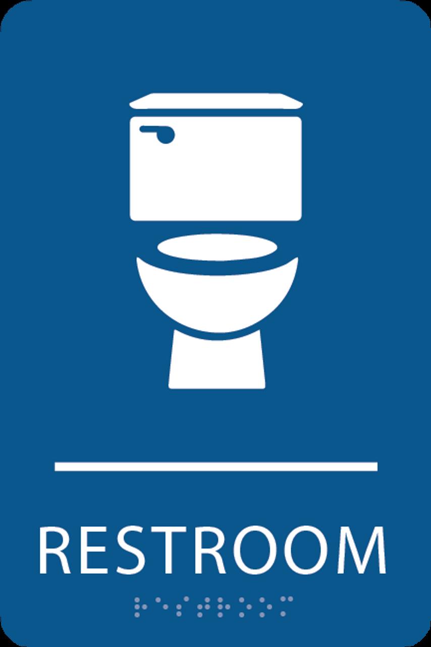 Royal Blue Toilet Restroom Sign