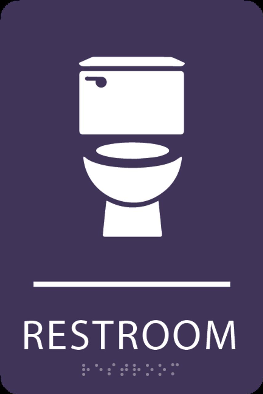 Purple Toilet Restroom Sign