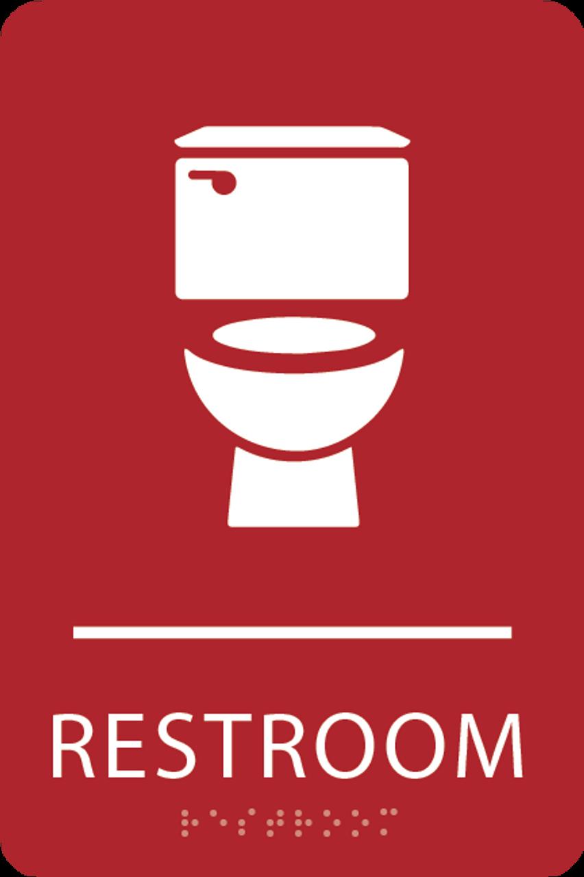 Red Toilet Restroom Sign
