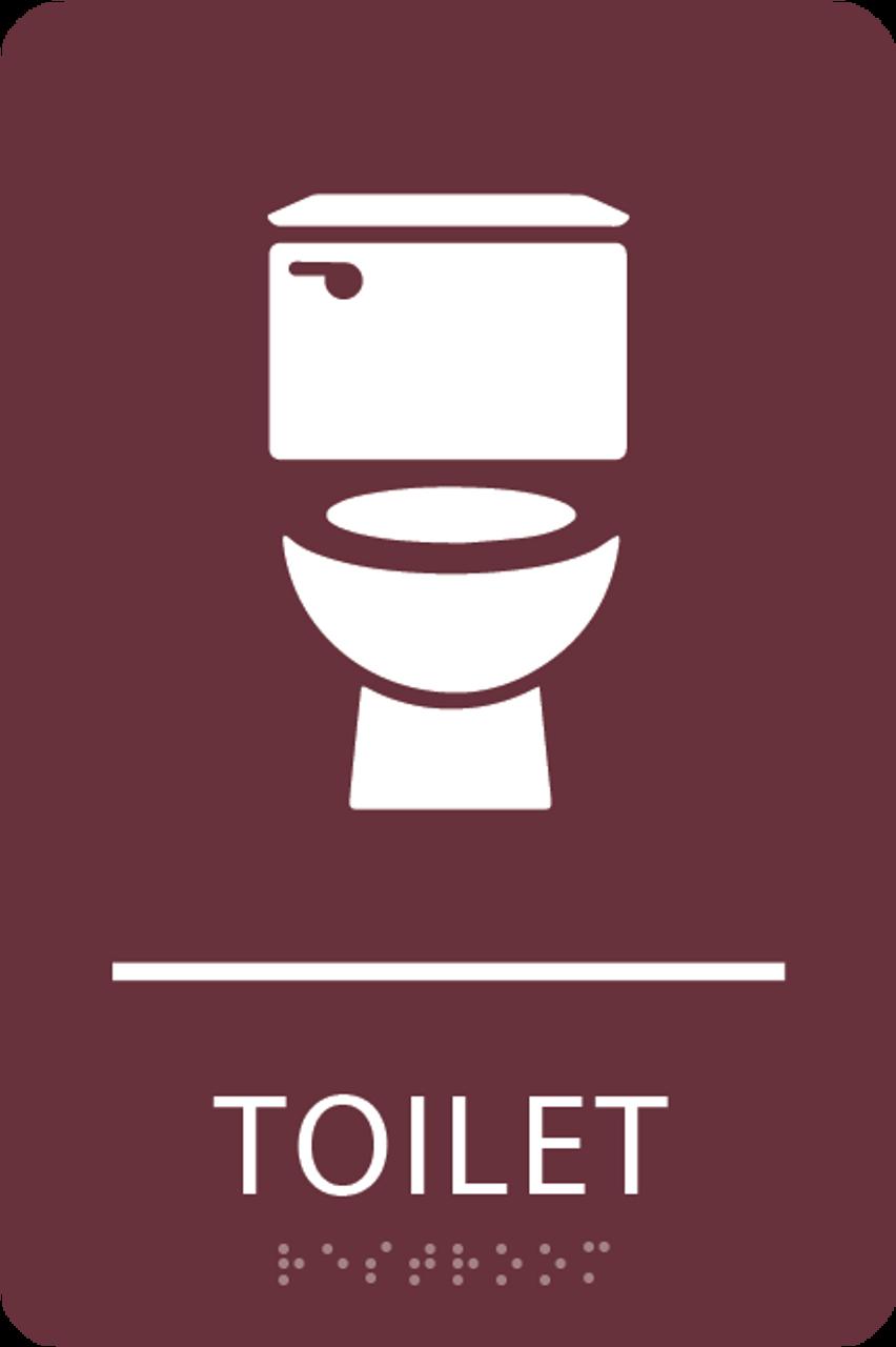Burgundy Toilet ADA Sign