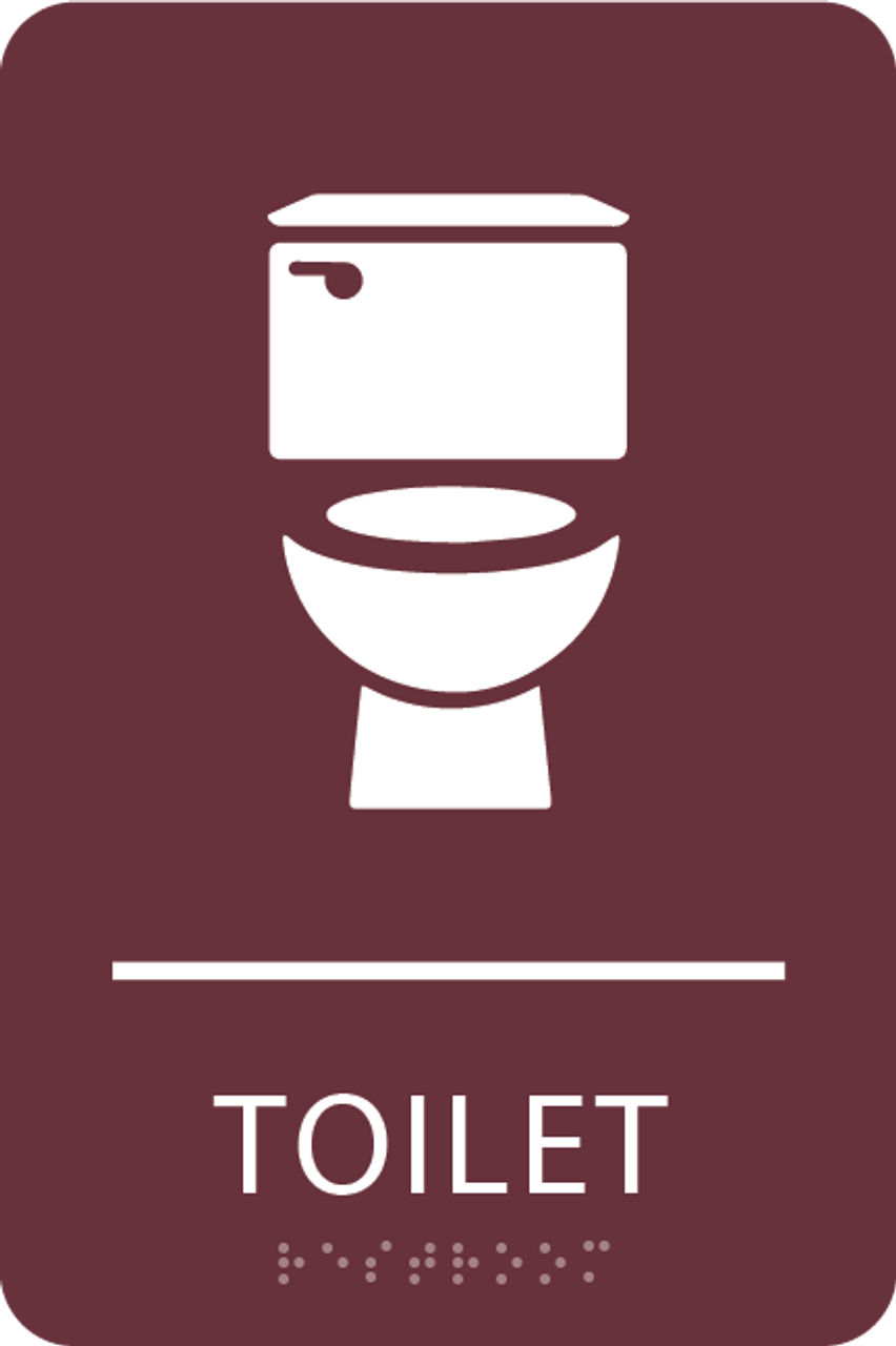Burgundy Toilet ADA Sign