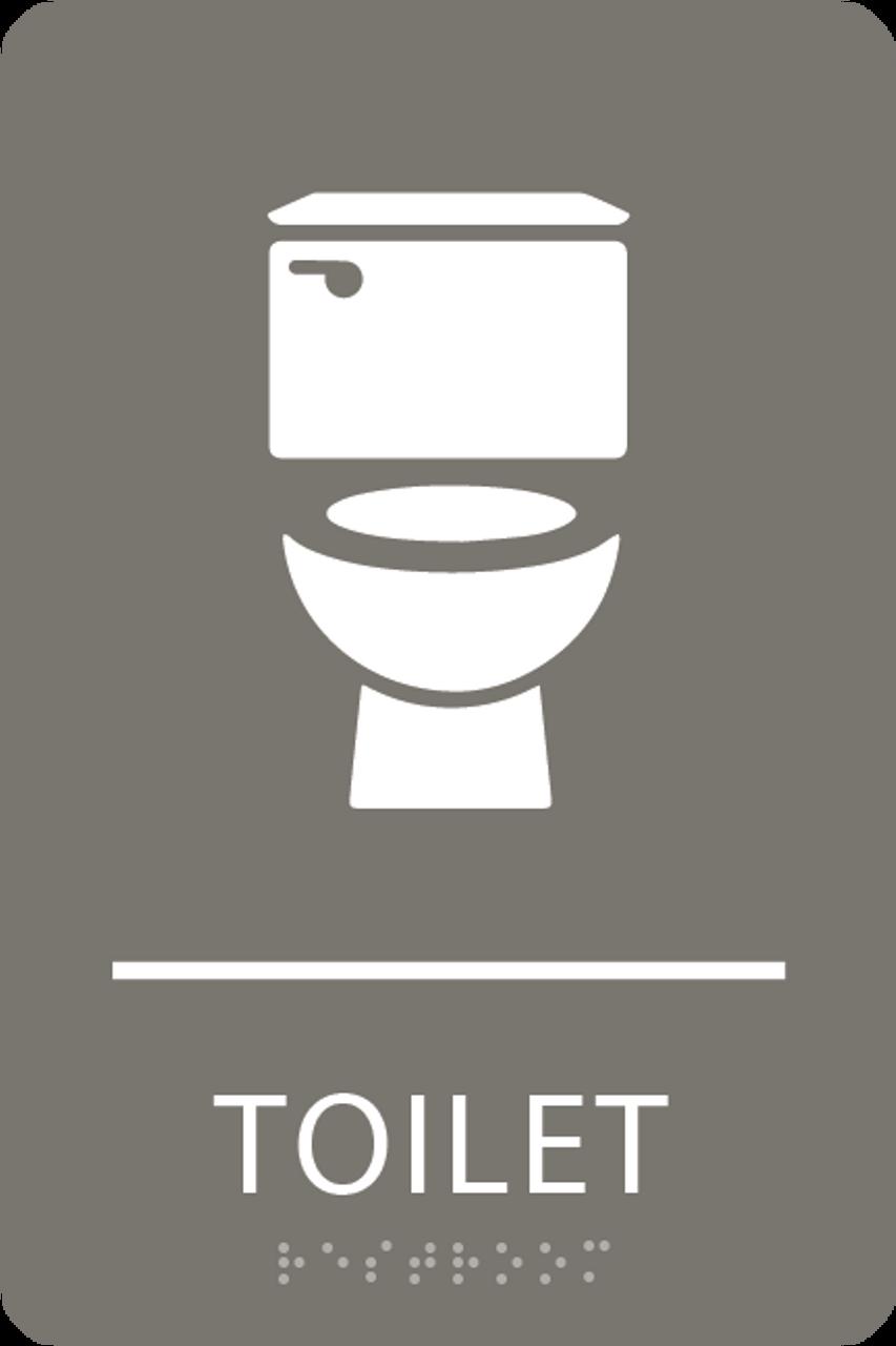 Dark Grey Toilet ADA Sign