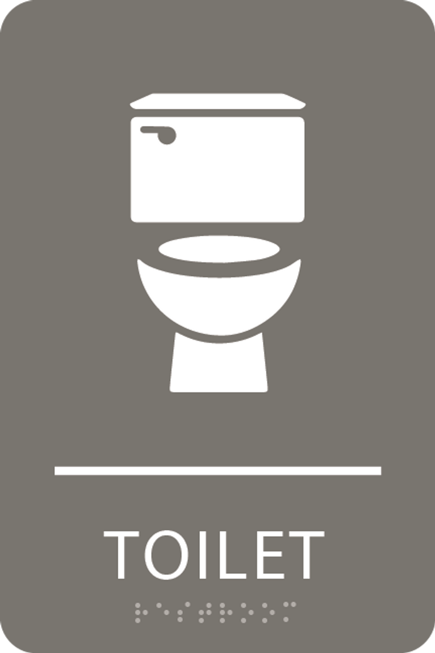 Dark Grey Toilet ADA Sign