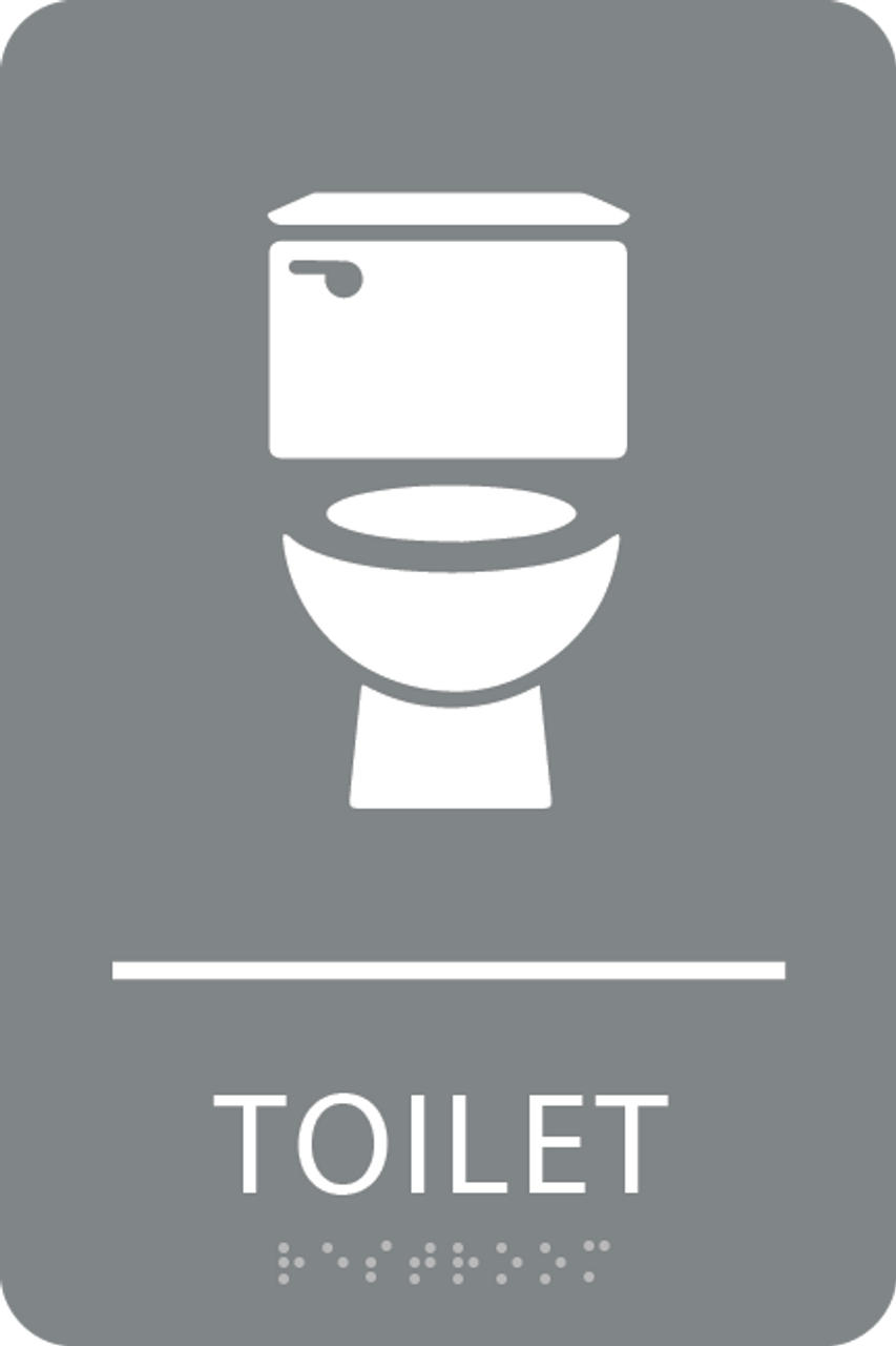 Grey Toilet ADA Sign