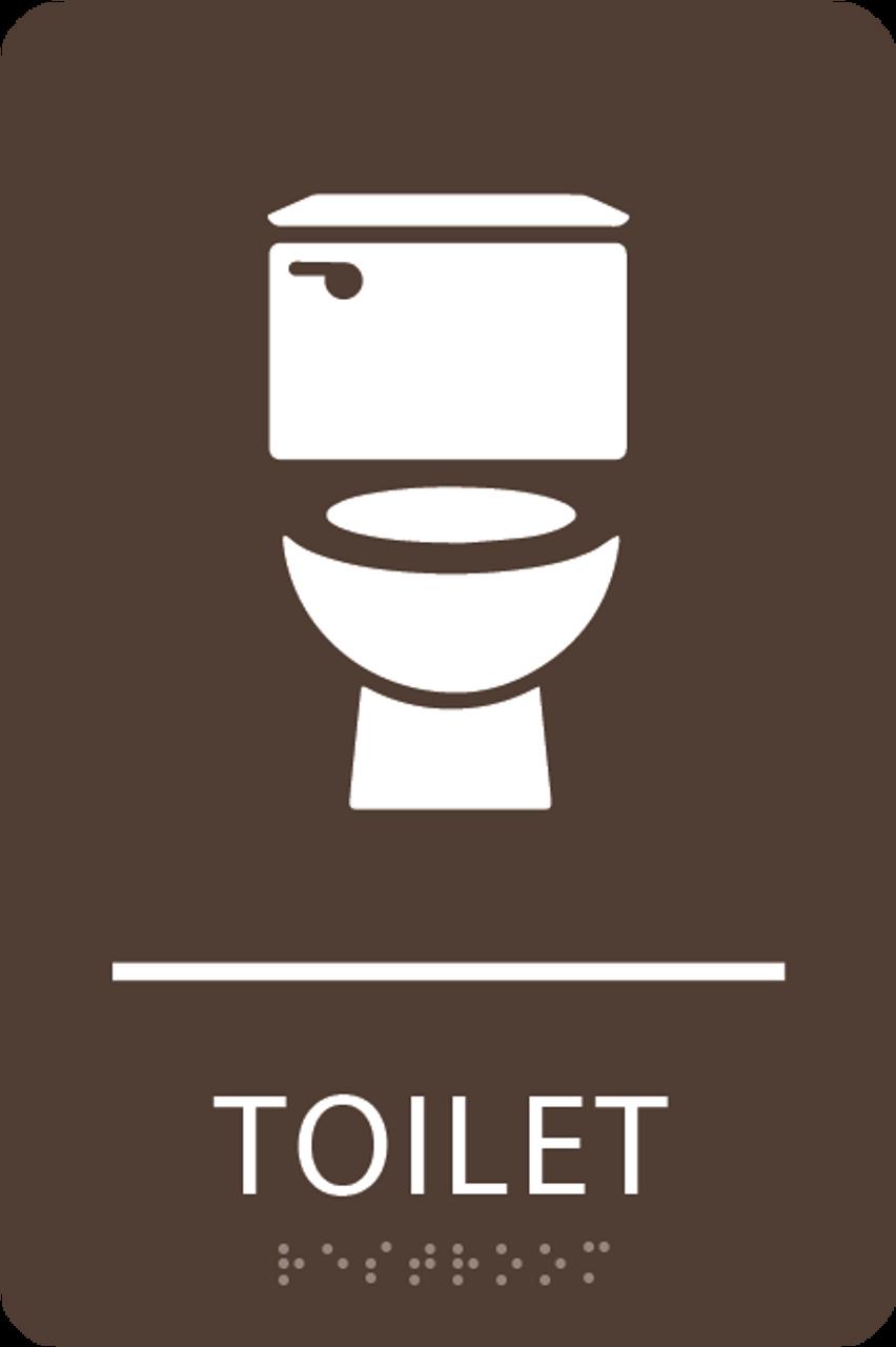 Dark Brown Toilet ADA Sign