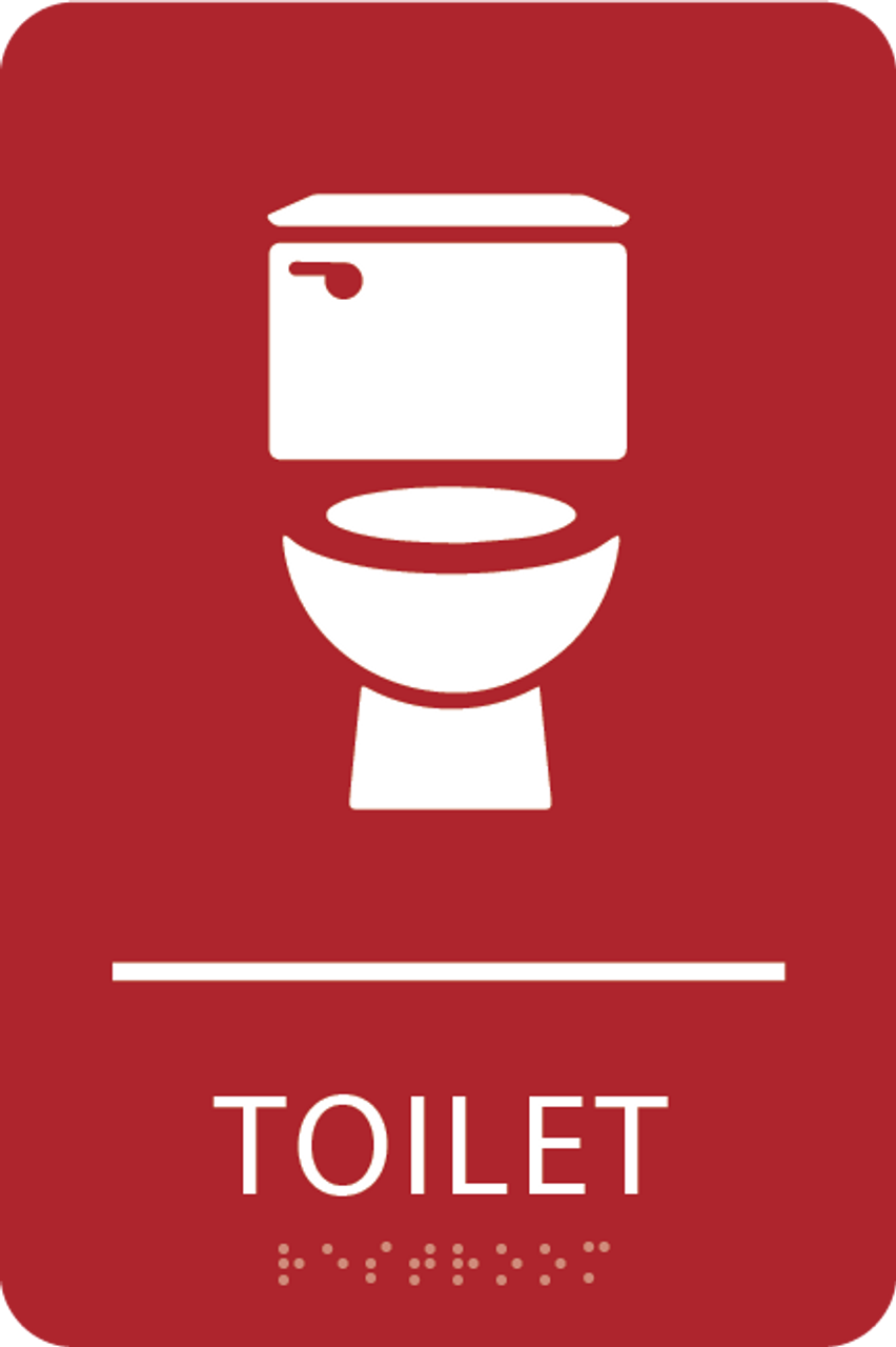 Red Toilet ADA Sign