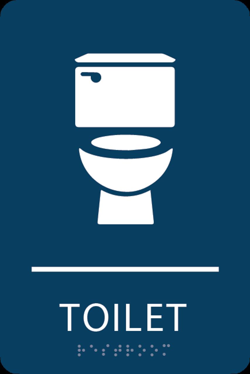 Dark Blue Toilet ADA Sign