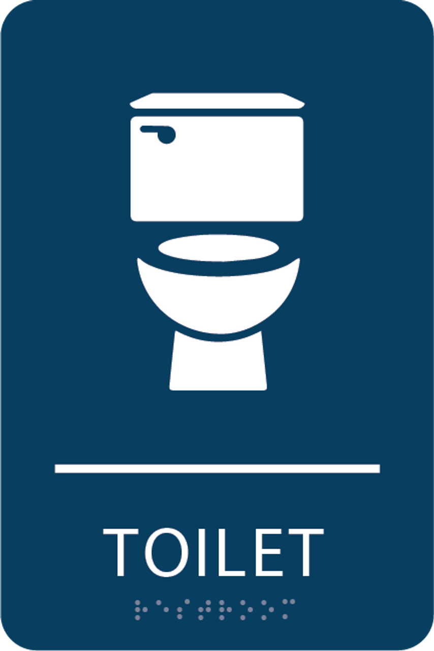 Dark Blue Toilet ADA Sign