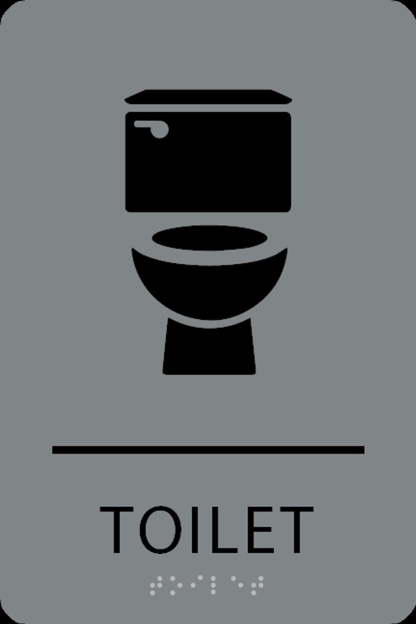 Grey Black Toilet ADA Sign