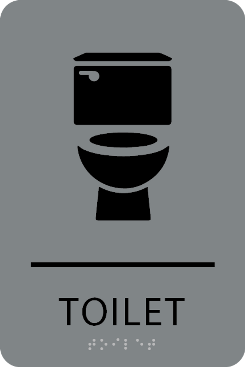 Grey Black Toilet ADA Sign