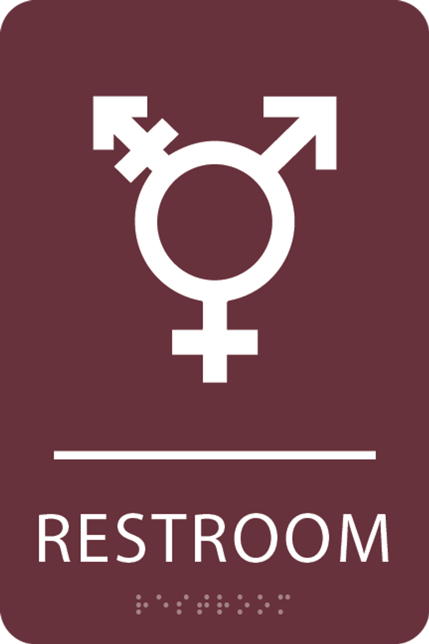 Burgundy Inclusive Restroom ADA Sign