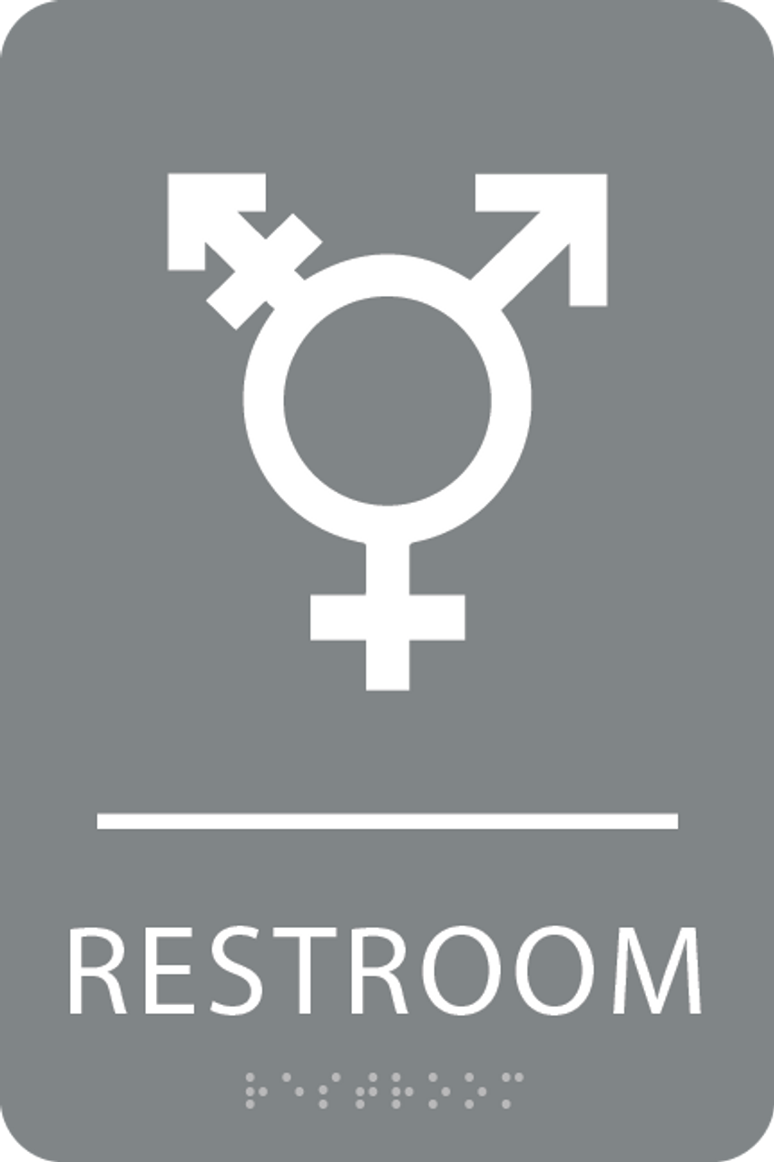 Grey & White  Inclusive Restroom ADA Sign