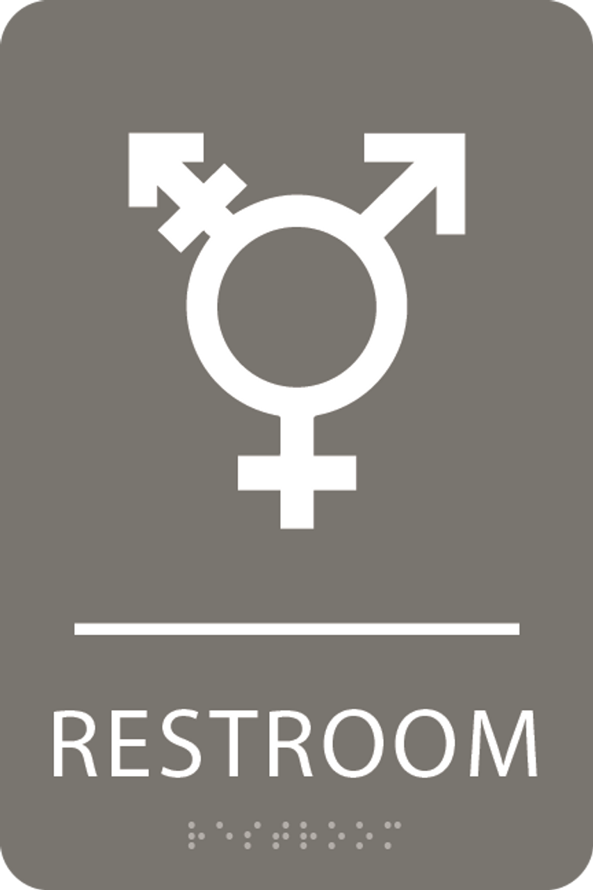 Dark Grey Inclusive Restroom ADA Sign