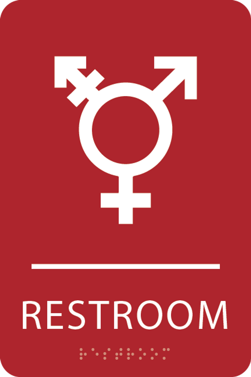 Red Inclusive Restroom ADA Sign