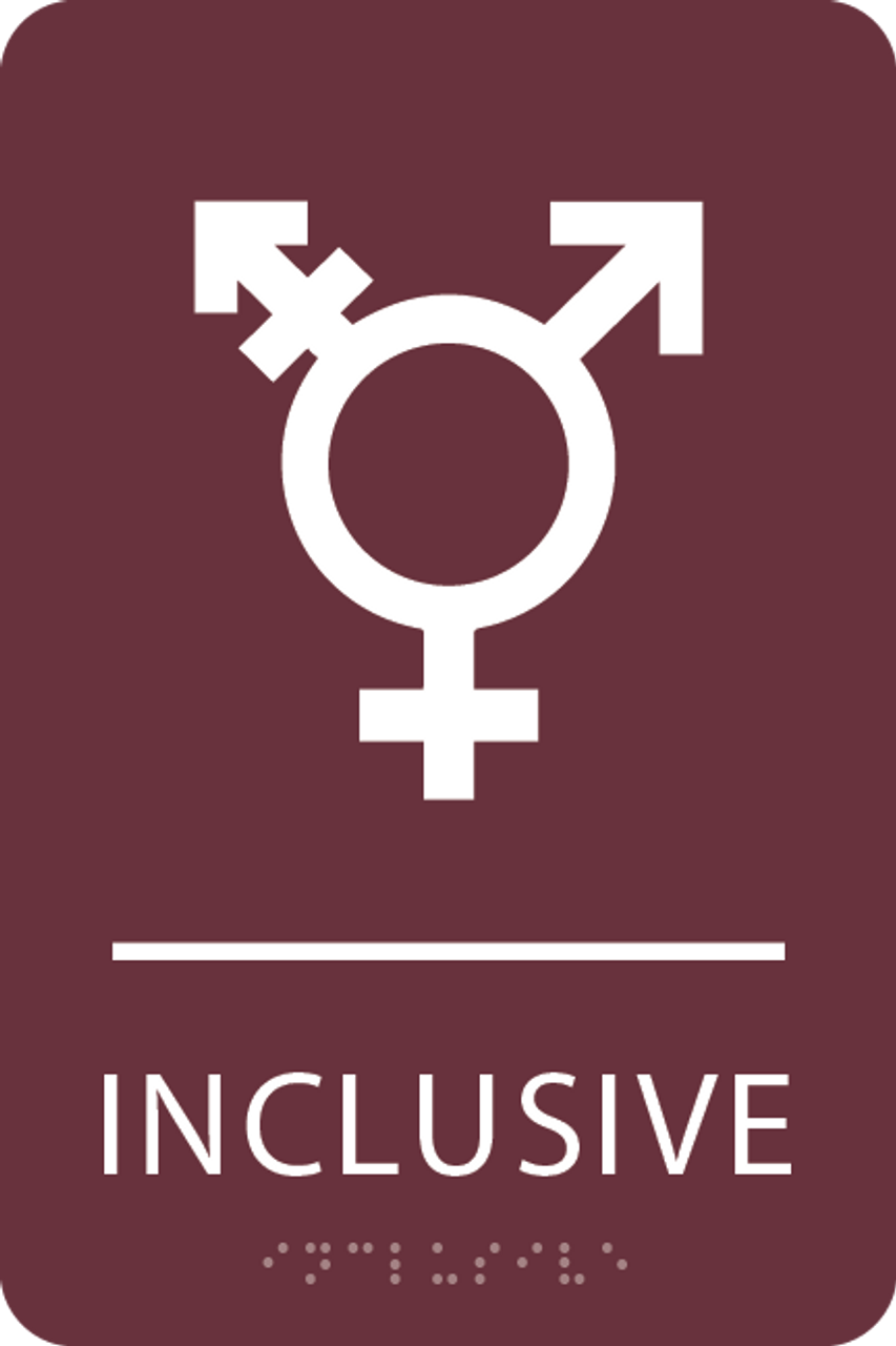 Burgundy Inclusive Gender Neutral Bathroom Sign
