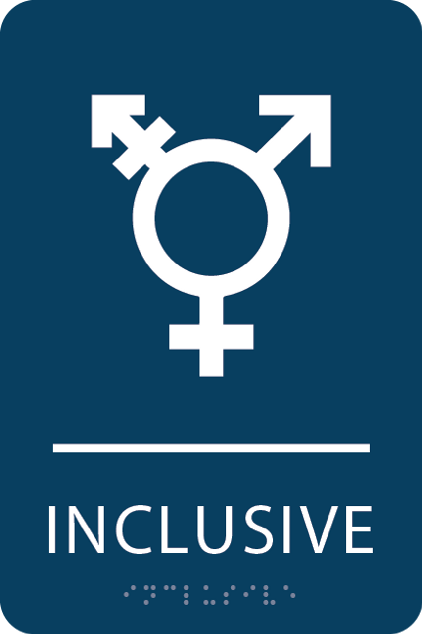 Dark Blue Inclusive Gender Neutral Bathroom Sign