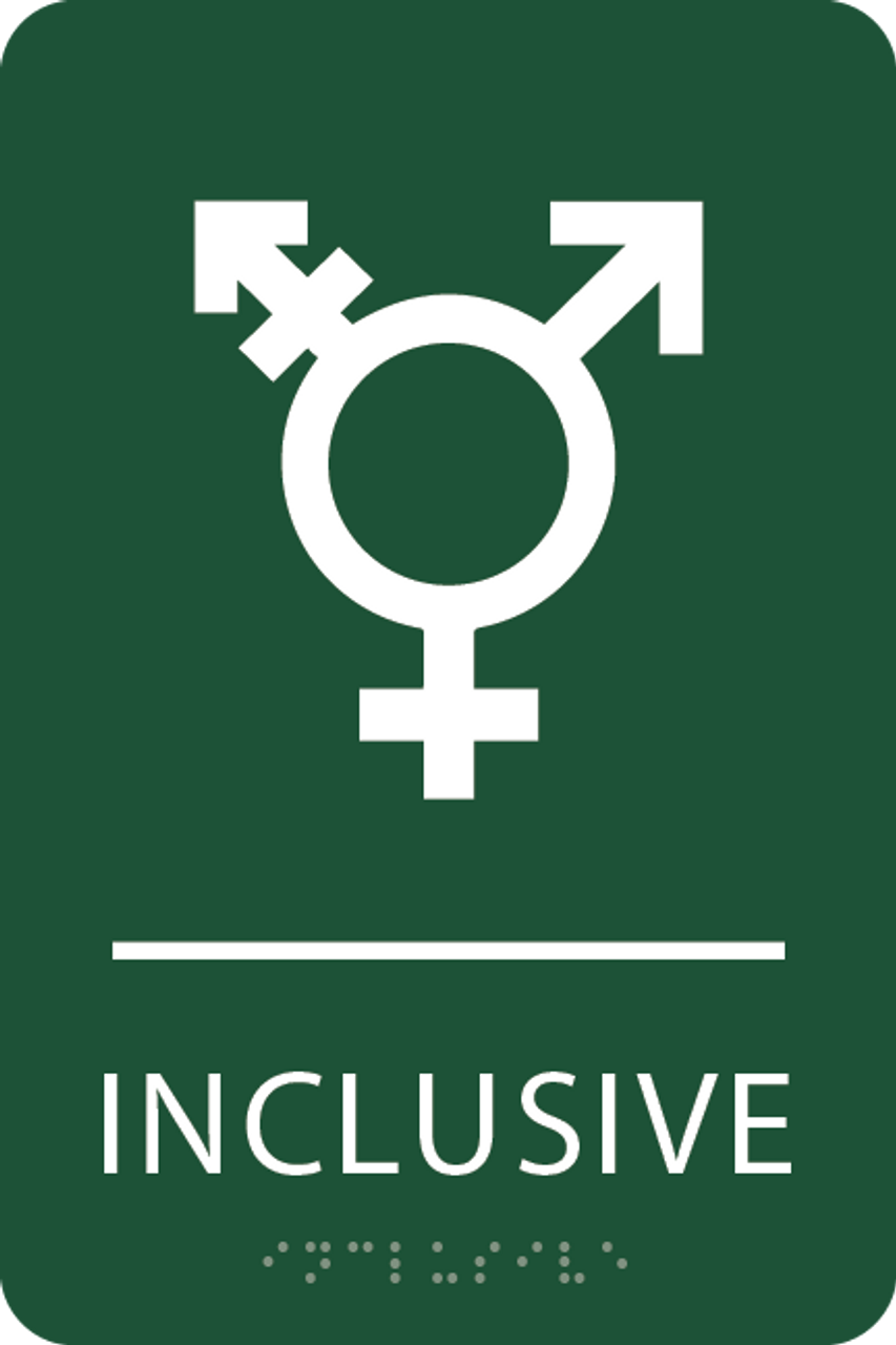 Green Inclusive Gender Neutral Bathroom Sign