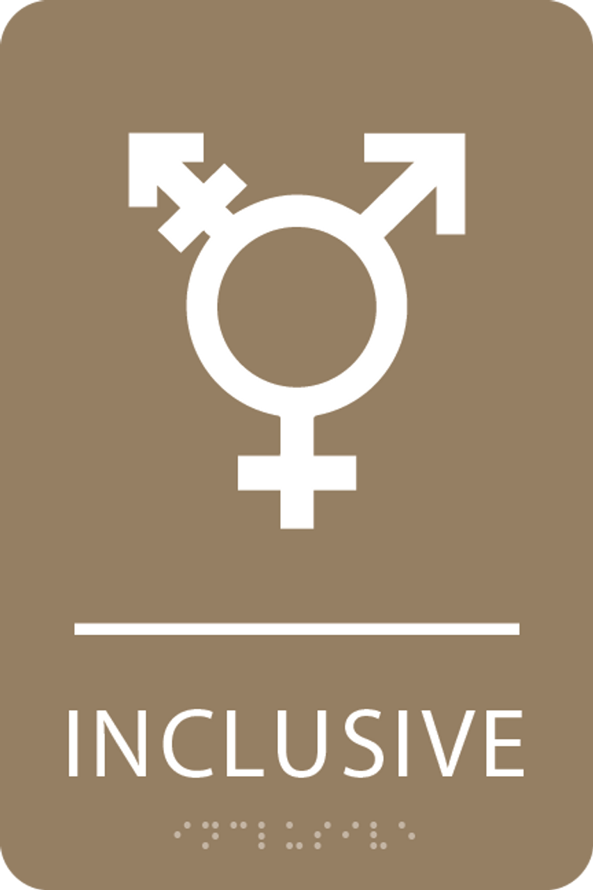 Light Brown Inclusive Gender Neutral Bathroom Sign