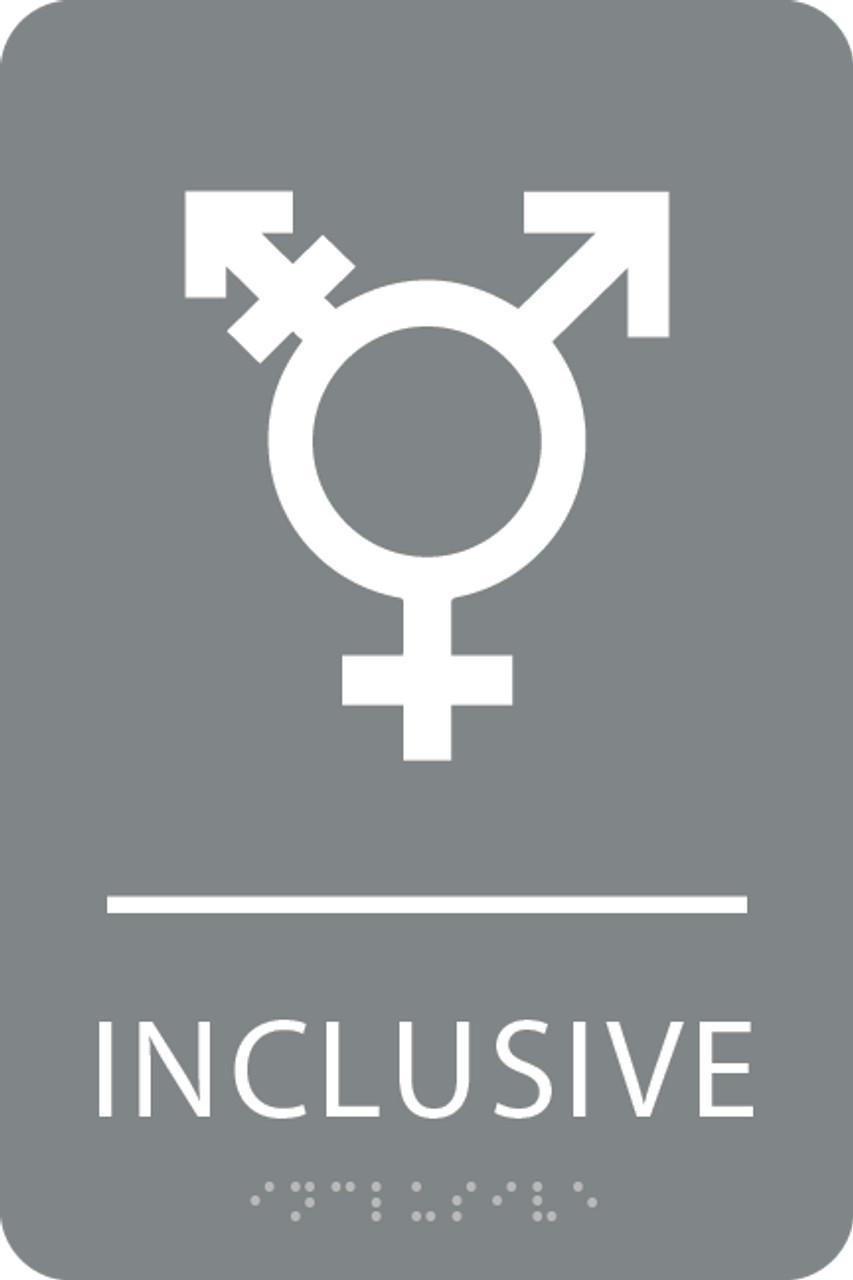 Grey White Inclusive Gender Neutral Bathroom Sign