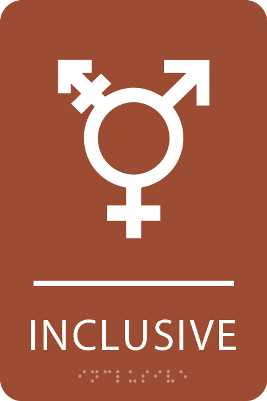 Orange Inclusive Gender Neutral Bathroom Sign
