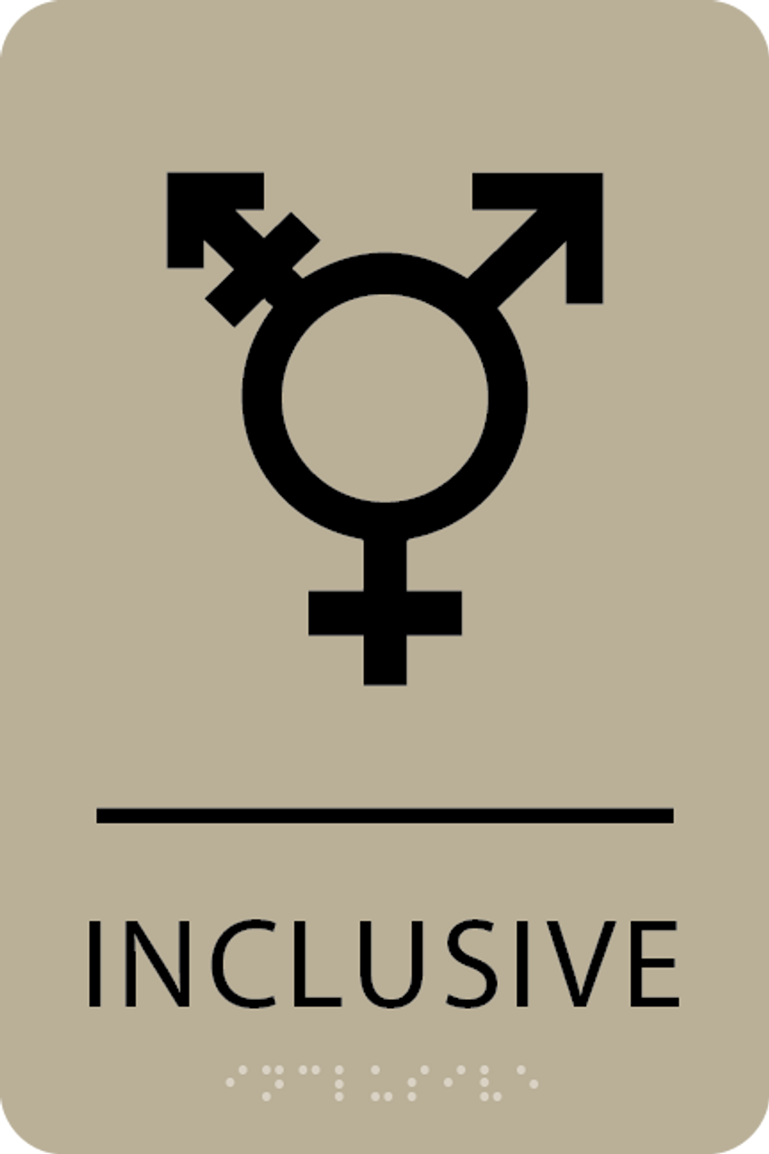 Khaki Inclusive Gender Neutral Bathroom Sign