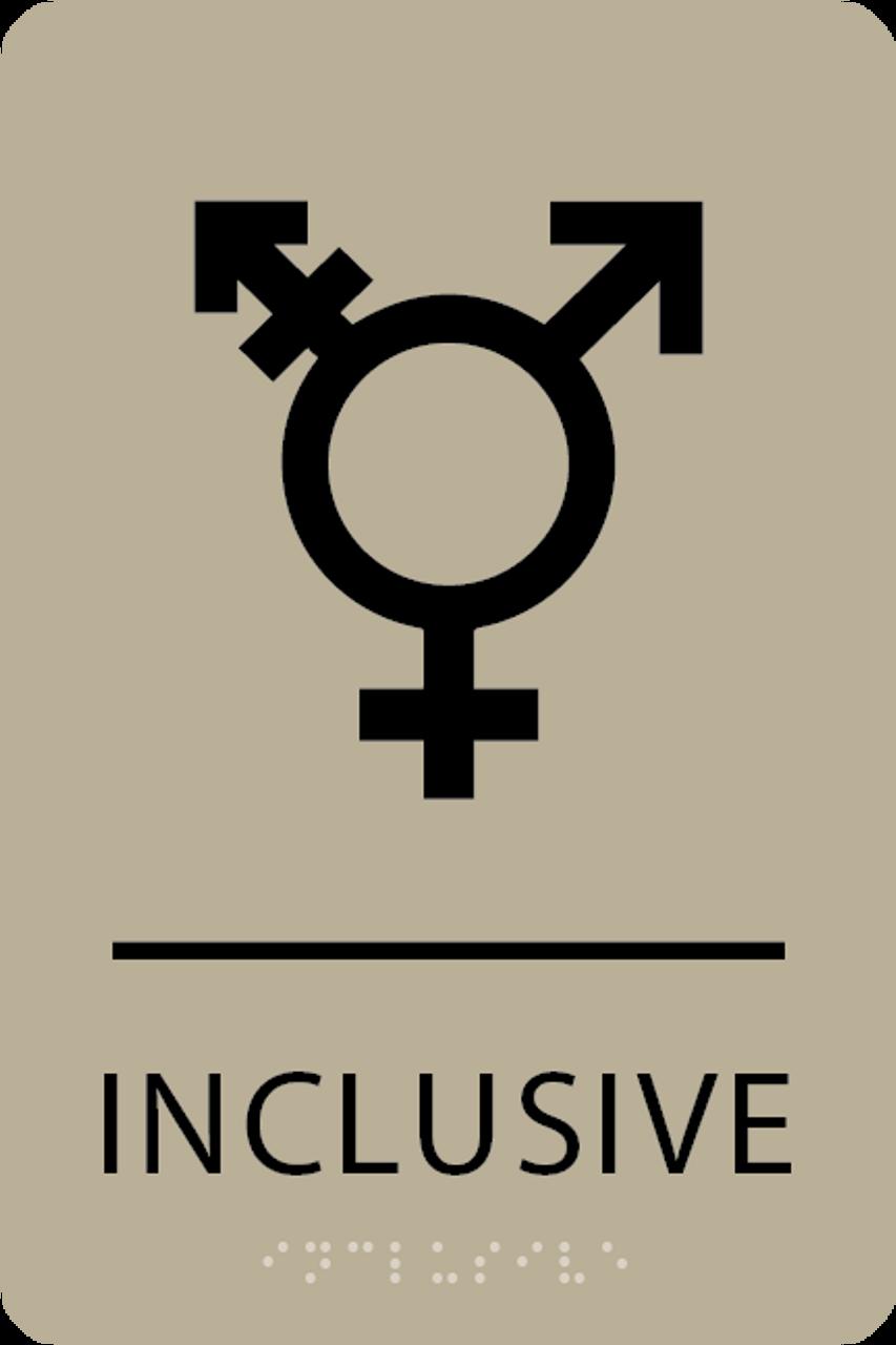 Khaki Inclusive Gender Neutral Bathroom Sign
