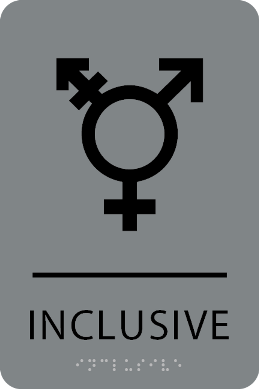 Grey Black Inclusive Gender Neutral Bathroom Sign
