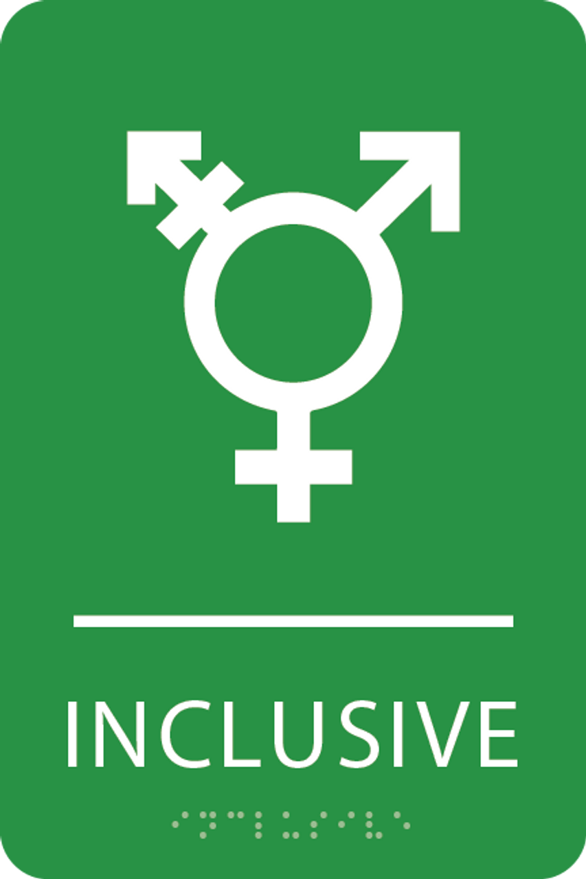Light Green Inclusive Gender Neutral Bathroom Sign