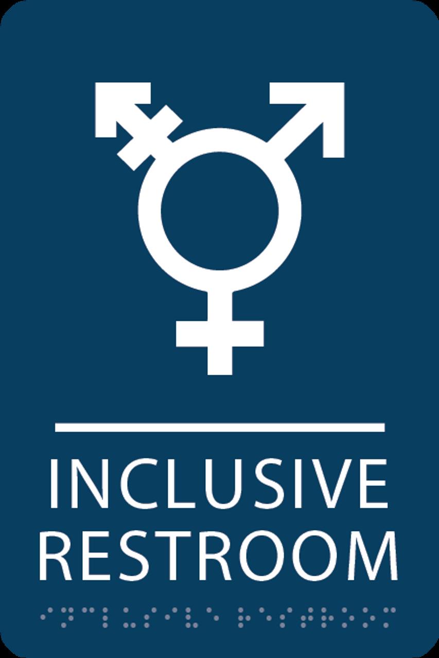 Dark Blue Inclusive Restroom ADA Sign