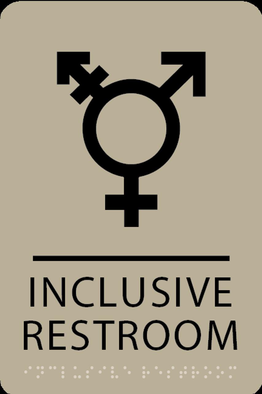 Khaki Inclusive Restroom ADA Sign