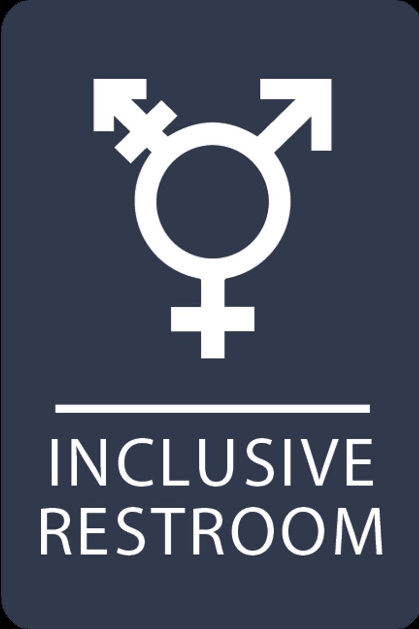 Navy Inclusive Restroom ADA Sign