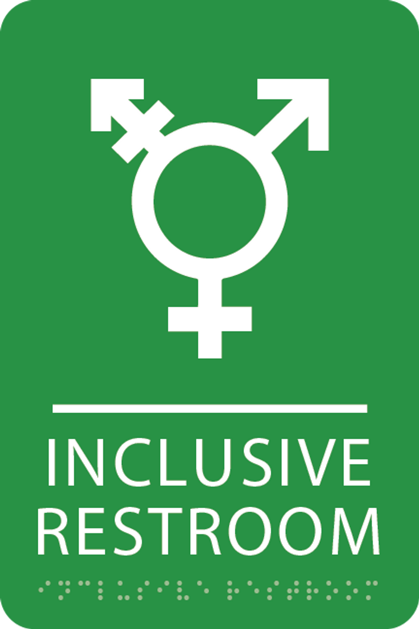 Light Green Inclusive Restroom ADA Sign