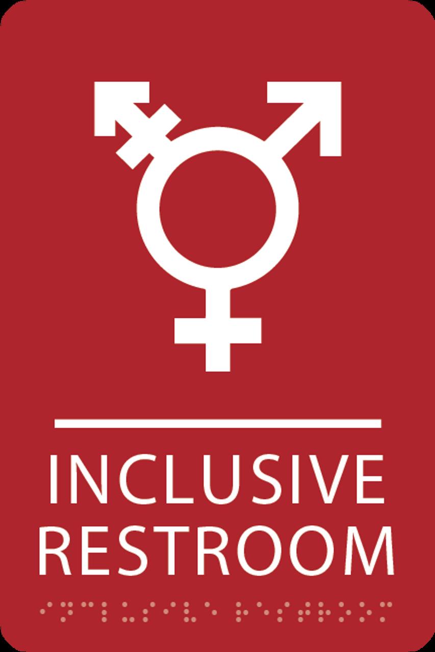Red Inclusive Restroom ADA Sign